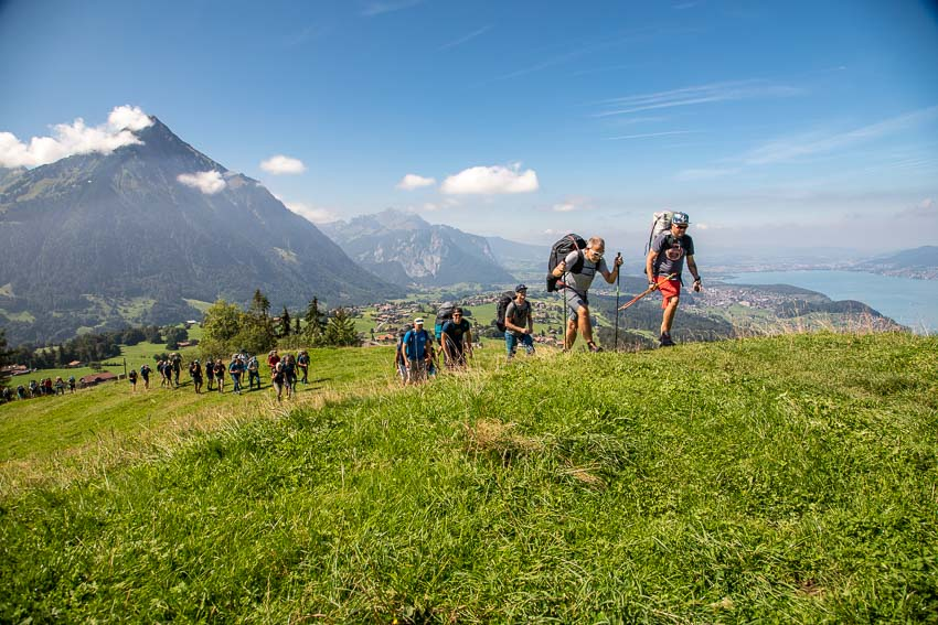 Hiking up to launch at the Brunni Hütte in Interlaken during the Advance Red Bull X-Alps 2019 fly-in. Photo: Marcus King