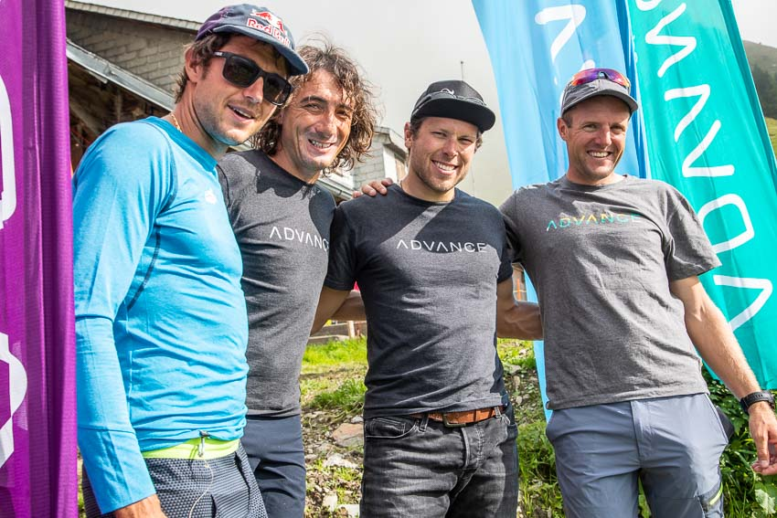 Aaron Durogati, Toma Coconea, Patrick von Kaenel and Chrigel Maurer at the Advance Red Bull X-Alps fly-in 2019. Photo: Marcus King