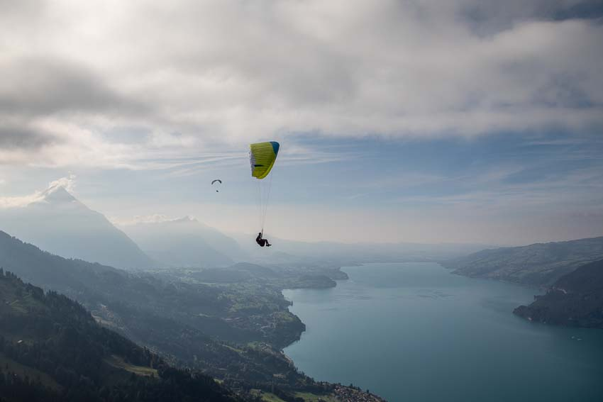 Flying down during the The Advance Red Bull X-Alps fly-in, September 2019. Photo: Marcus King