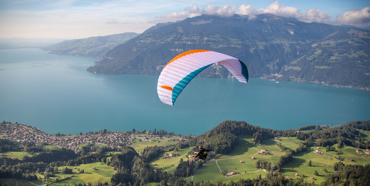 Flying down during the Advance Red Bull X-Alps fly-in, 3 September 2019. Photo: Marcus King