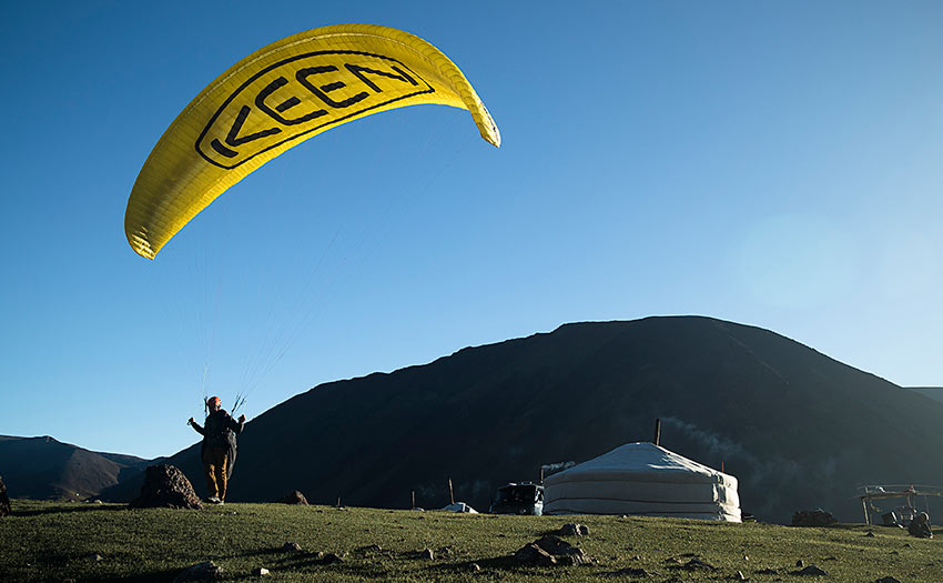 Paragliding in Mongolia. Photo: Krystle Wright