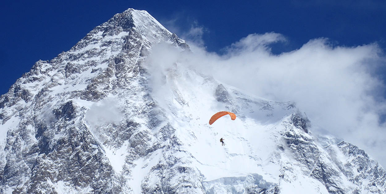 Max Berger paragliding from K2 in July 2019