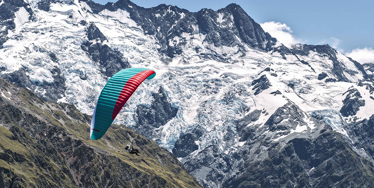 Paragliding near Mount Cook, New Zealand. Photo: Felix Woelk