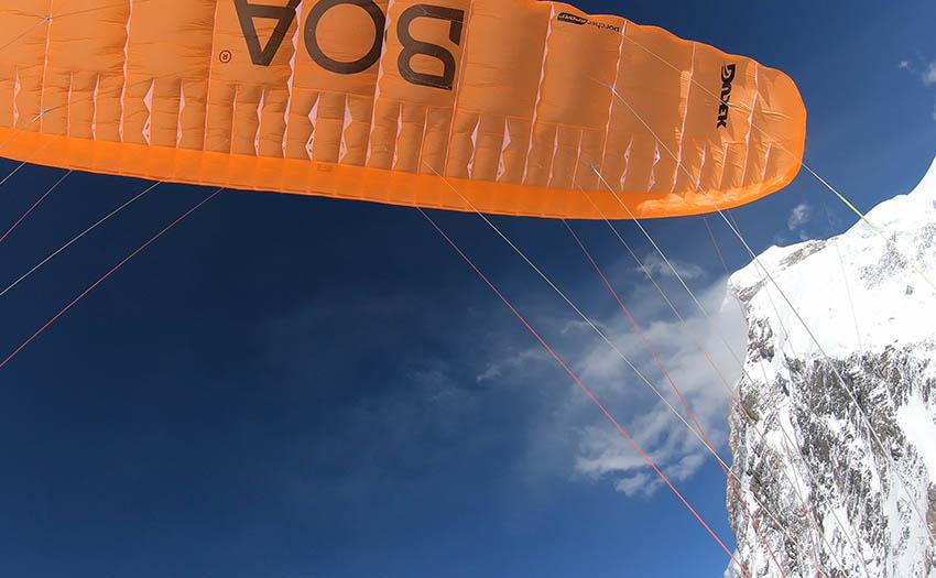 Max Berger in flight on K2