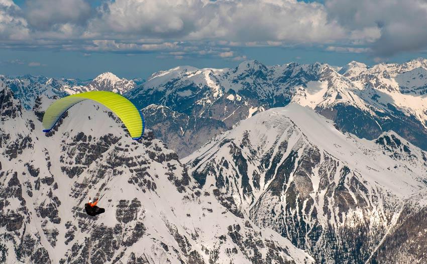 Flying a Nova Mentor 6 Light in the Alps. Photo: Nova
