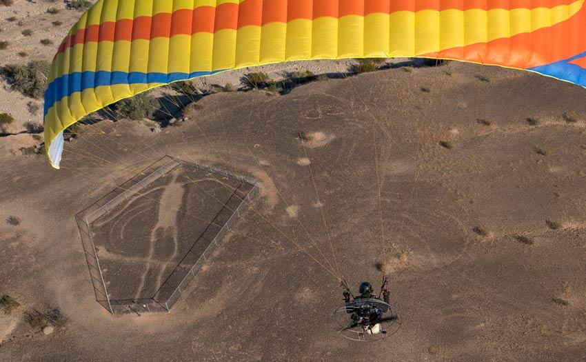 Paramotoring above the Blythe Intaglios, California . Photo: Jeff Hamman