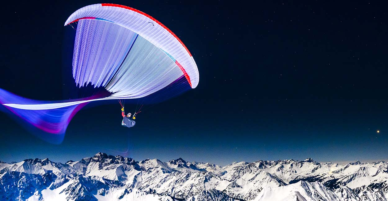 Paragliding by moonlight. Photo: Adi Geisseger