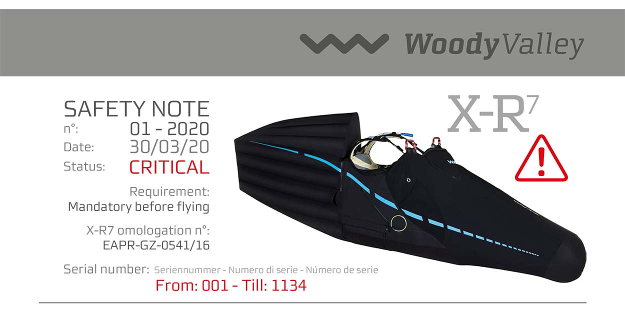 Woody Valley XR-7 safety note