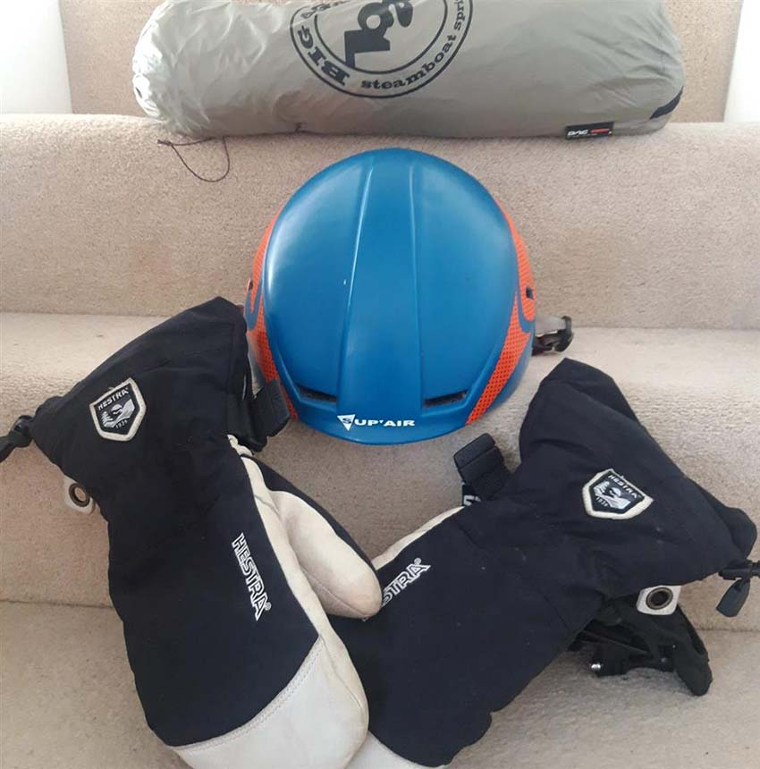 Matt's gear for climbing his staircase inside his East London flat. Photo: File Photo