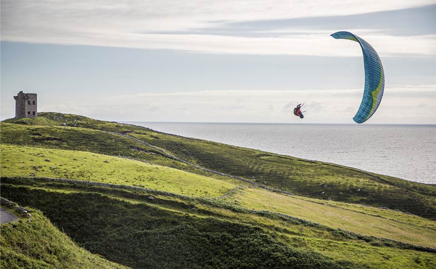 Will Gadd paragliding on the west coast of Ireland. Photo: John Price / Red Bull Content Pool