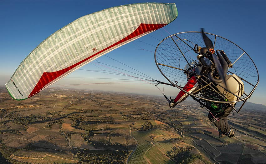 Paramotoring in the eastern Pyrenees. Photo: Jerome Maupoint