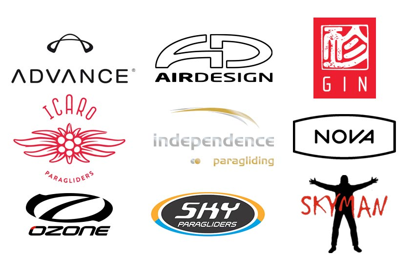 Advance, AirDesign, Gin, Icaro, Independence, Nova, Ozone, Sky, Skyman