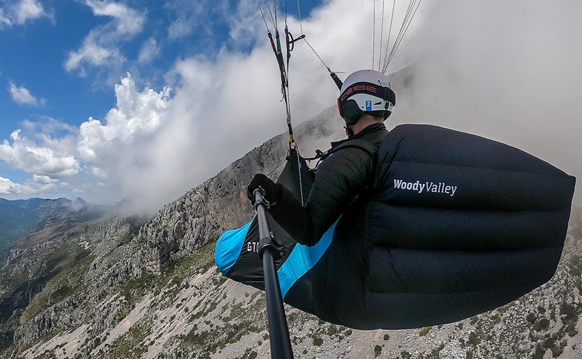 A Woody Valley paragliding harness