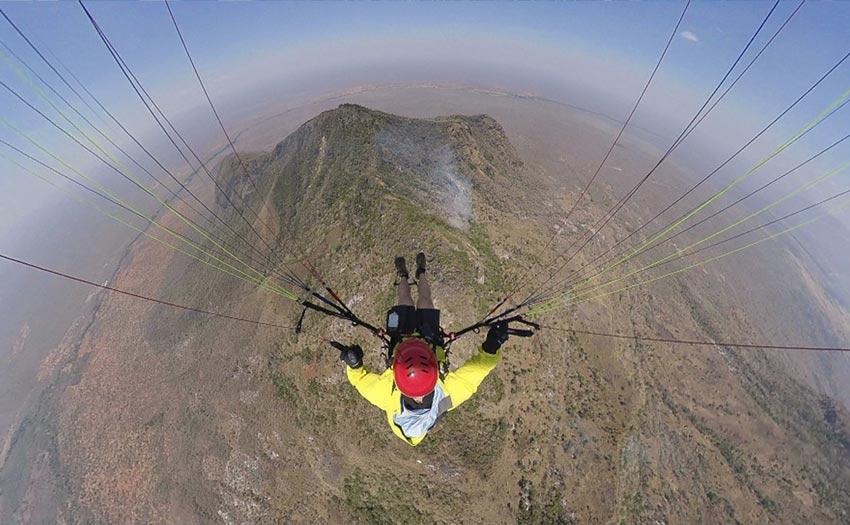 Richard Sidey paragliding in Tanzania