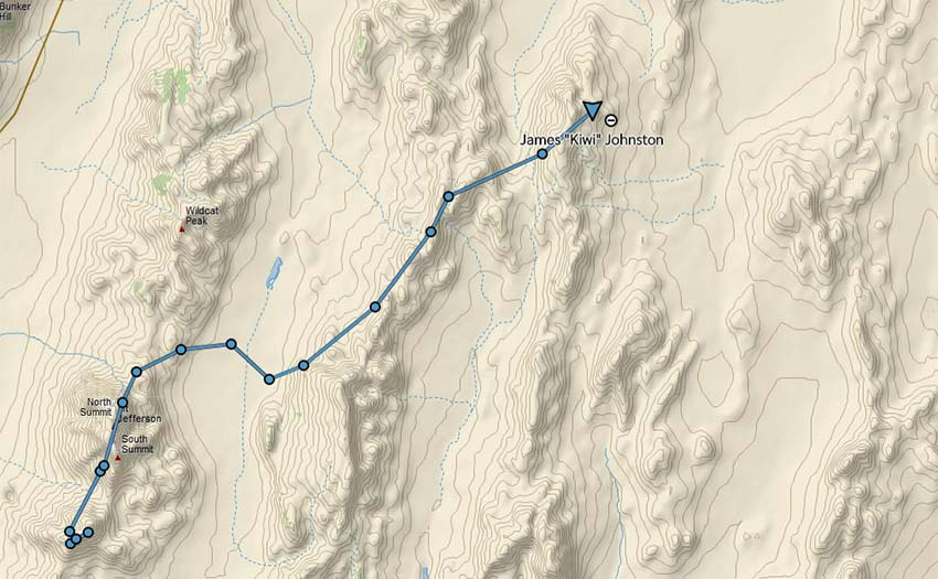 Kiwi's InReach tracklog showing his last known position