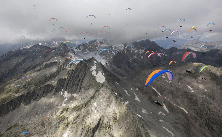 Paragliding World Cup action at Disentis 2020. Photo: Martin Scheel