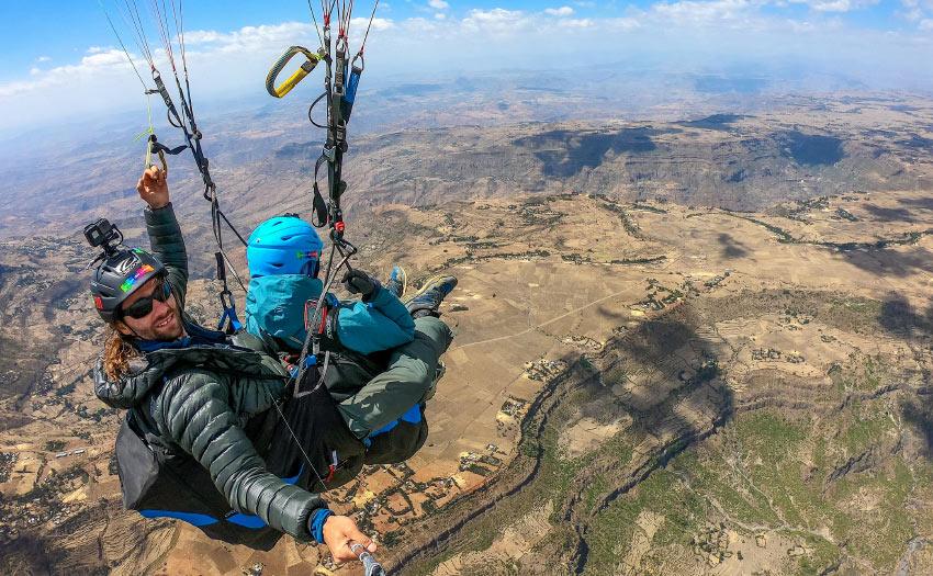 Antoine Girard paragliding vol-biv in Ethiopia.