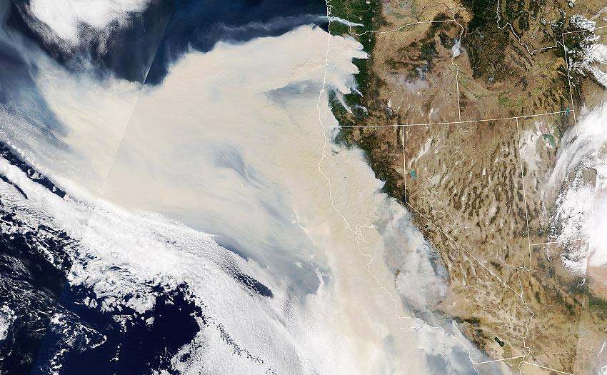 Fires in California, Summer 2020. Photo: NASA