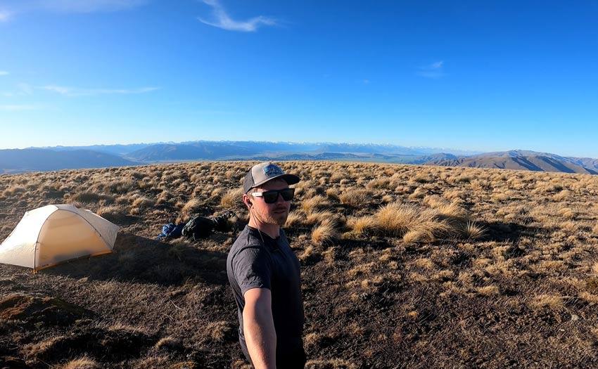 Camp above Mackenzie basin New Zealand