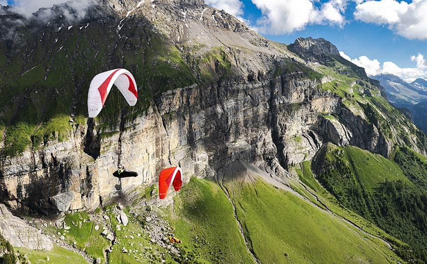 Paragliding in the Alps. Photo: Jerome Maupoint
