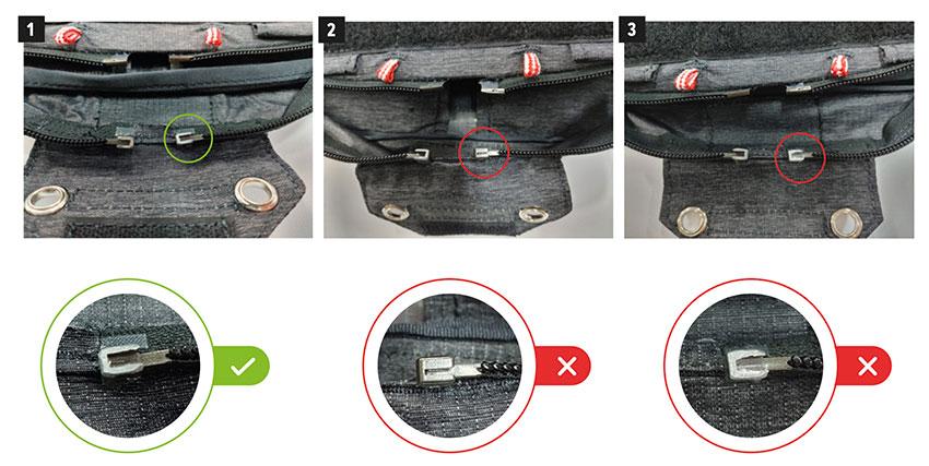 Gin Genie Lite 3 rescue deck zipper diagram from safety notice