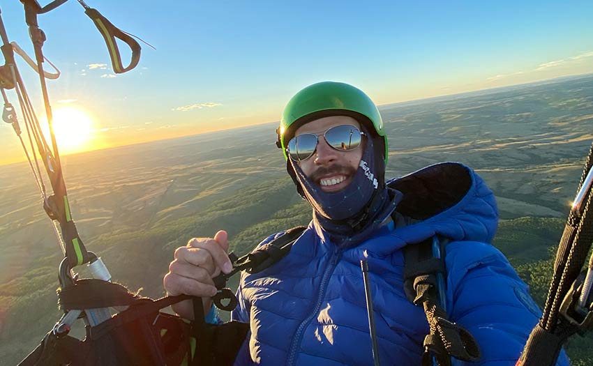 Joaquin Stable paragliding in Uruguay.