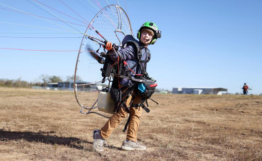 Wyatt Parker paramotor pilot. Photo: Ben Depp