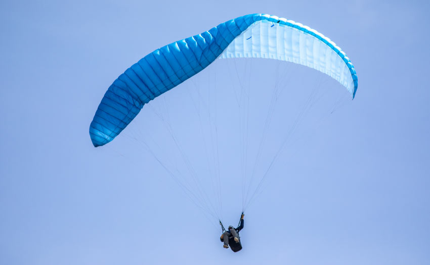 How to handle a paraglider collapse. Photo: Marcus King
