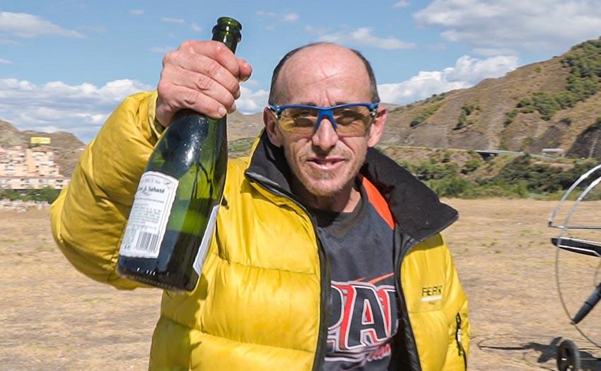 Ramón Morillas celebrates his altitude record