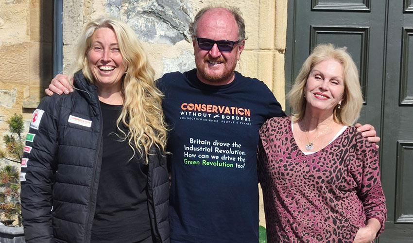 Sacha Dench, Dan Burton and Joanna Lumley. Photo: Dan Burton