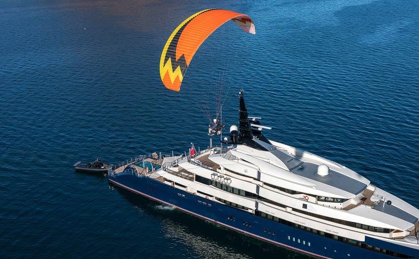 Paramotoring over Steven Spielberg's yacht in Baja California. Photo: Jeff Hamann