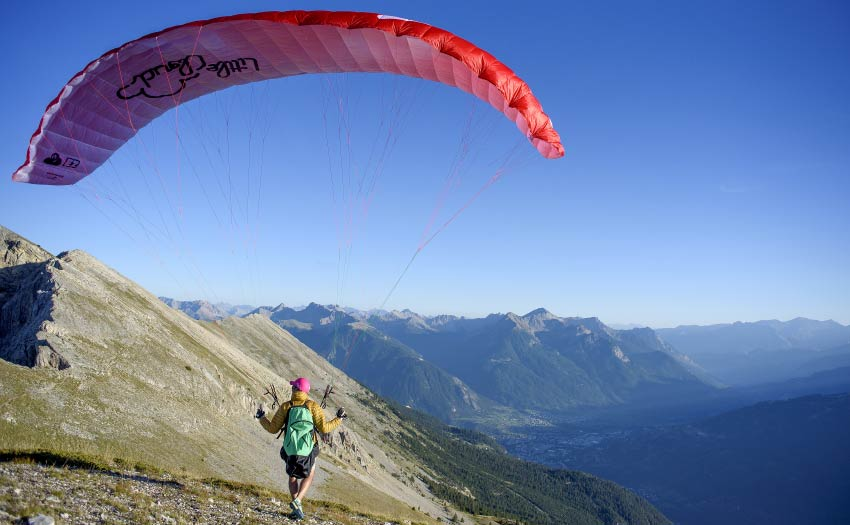 Launching a Little Cloud paraglider in the French Alps. Photo: Little Cloud